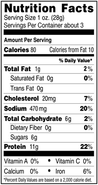 Nutrition Facts for Original Organic Beef Jerky