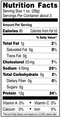 Peppered Organic Beef Jerky Nutrition Facts